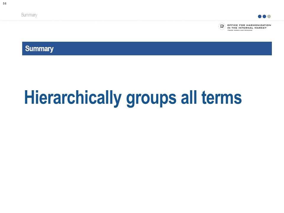 Summary Hierarchically groups all terms Summary 56
