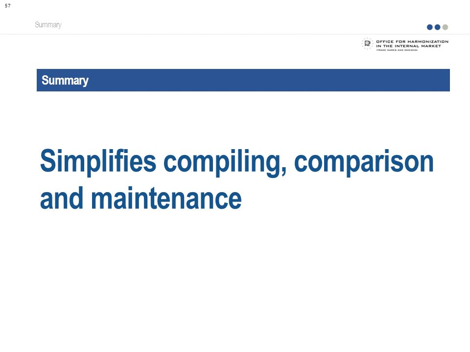 Summary Simplifies compiling, comparison and maintenance Summary 57