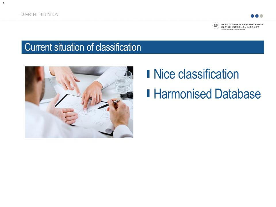 CURRENT SITUATION Current situation of classification 6 Nice classification Harmonised Database
