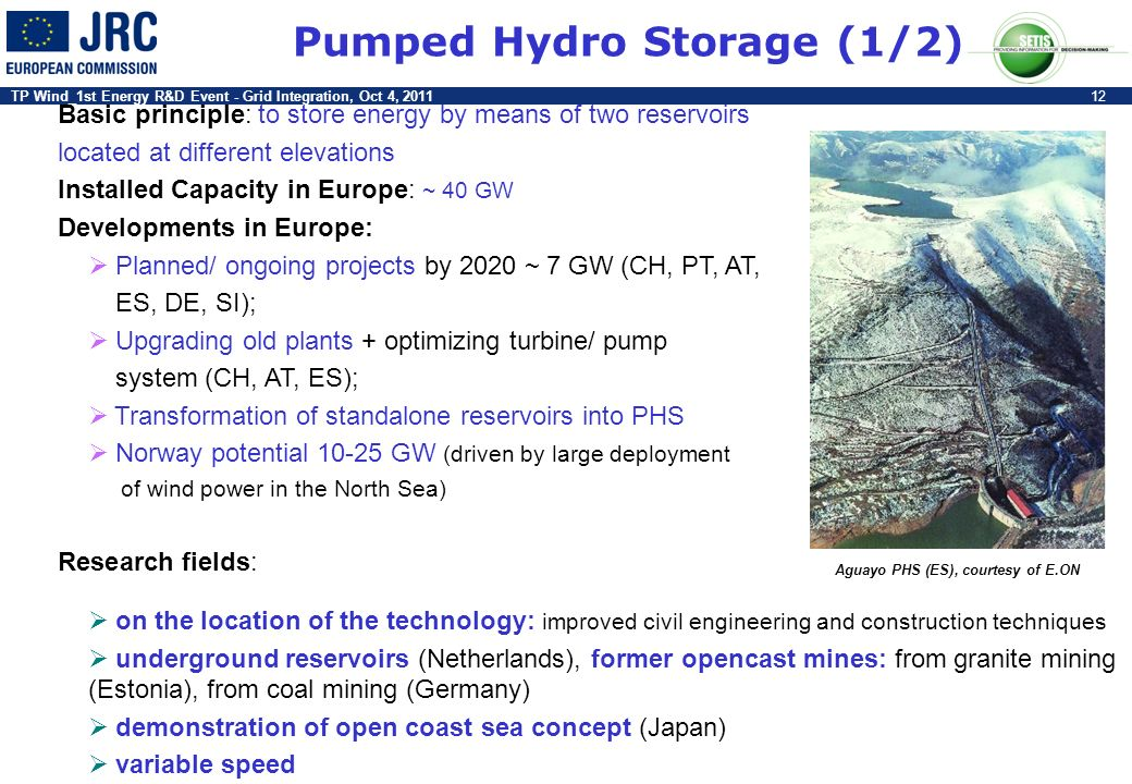 TP Wind_1st Energy R&D Event - Grid Integration, Oct 4, 201112 Basic principle: to store energy by means of two reservoirs located at different elevat