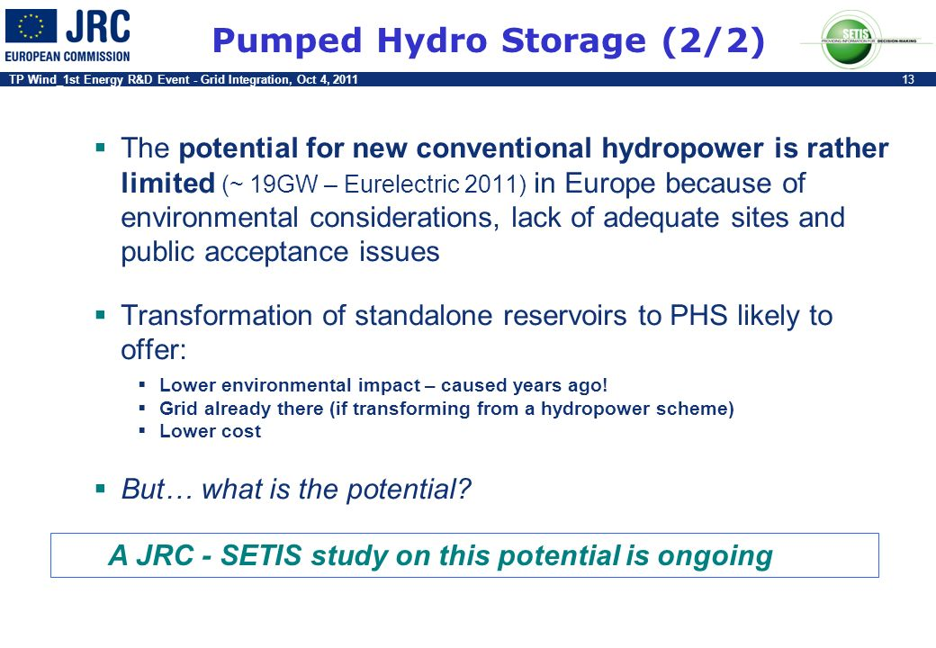 TP Wind_1st Energy R&D Event - Grid Integration, Oct 4, 201113 Pumped Hydro Storage (2/2) The potential for new conventional hydropower is rather limi