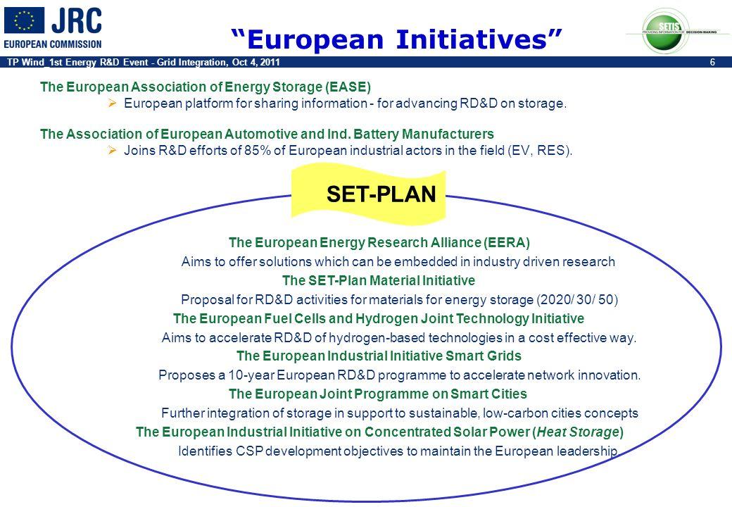 TP Wind_1st Energy R&D Event - Grid Integration, Oct 4, 20116 European Initiatives The European Association of Energy Storage (EASE) European platform