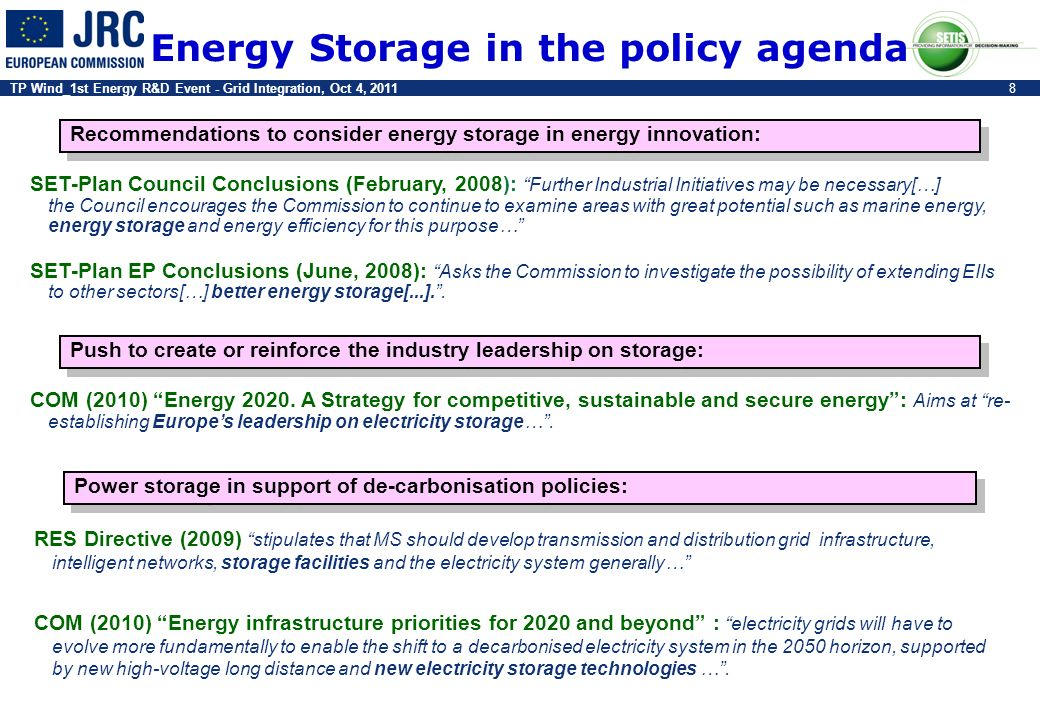 TP Wind_1st Energy R&D Event - Grid Integration, Oct 4, 20118 Energy Storage in the policy agenda Recommendations to consider energy storage in energy