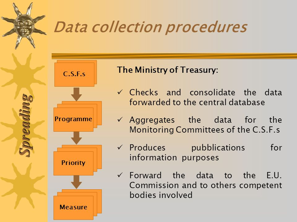 Data collection procedures Spreading The Ministry of Treasury: Checks and consolidate the data forwarded to the central database Aggregates the data f