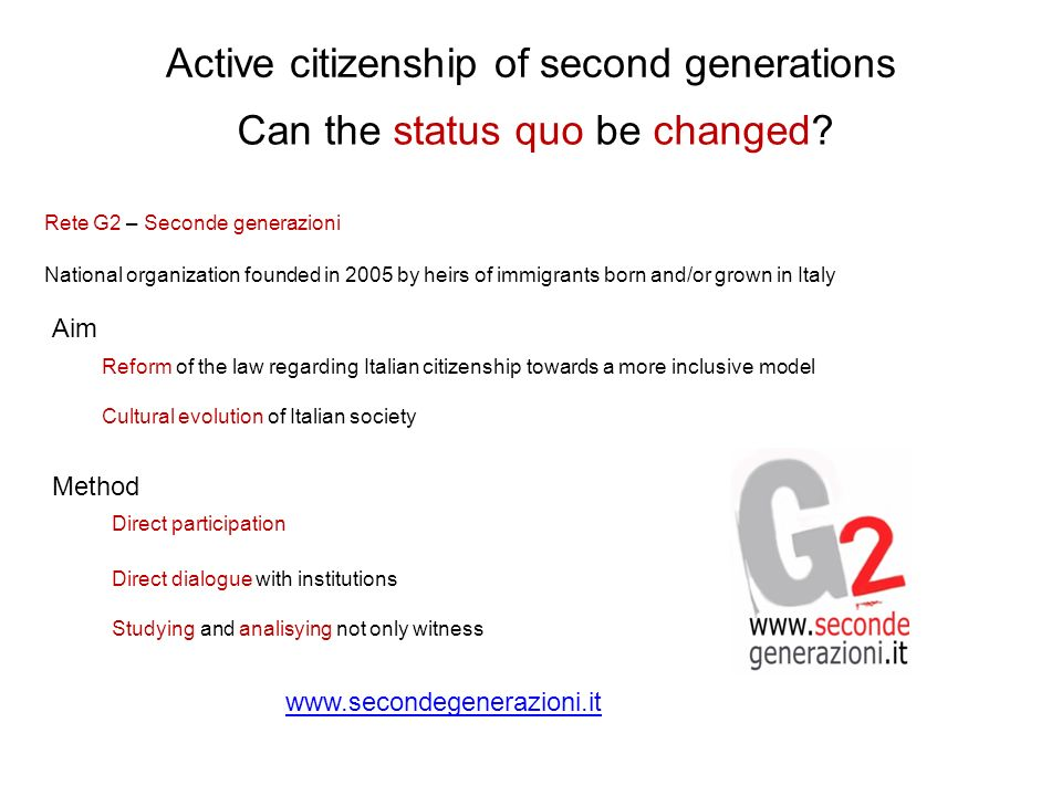 Active citizenship of second generations Can the status quo be changed.
