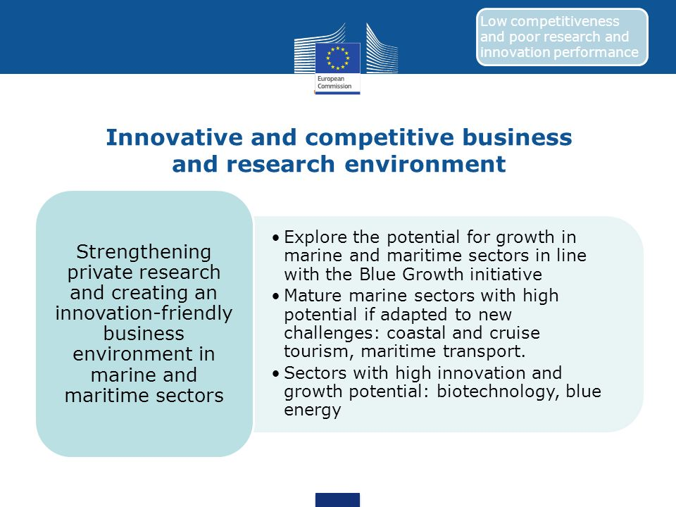 Innovative and competitive business and research environment Explore the potential for growth in marine and maritime sectors in line with the Blue Gro