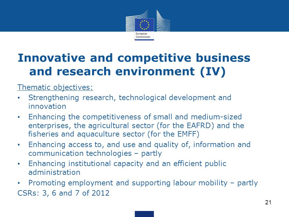 Innovative and competitive business and research environment (IV) Thematic objectives: Strengthening research, technological development and innovatio