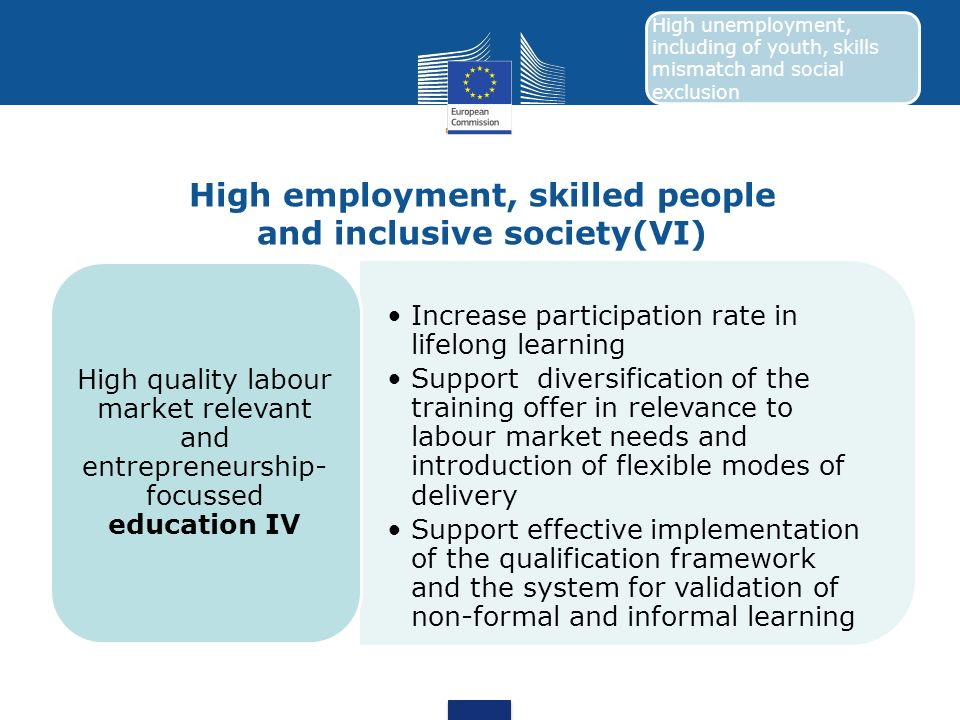 High employment, skilled people and inclusive society(VI) Increase participation rate in lifelong learning Support diversification of the training off