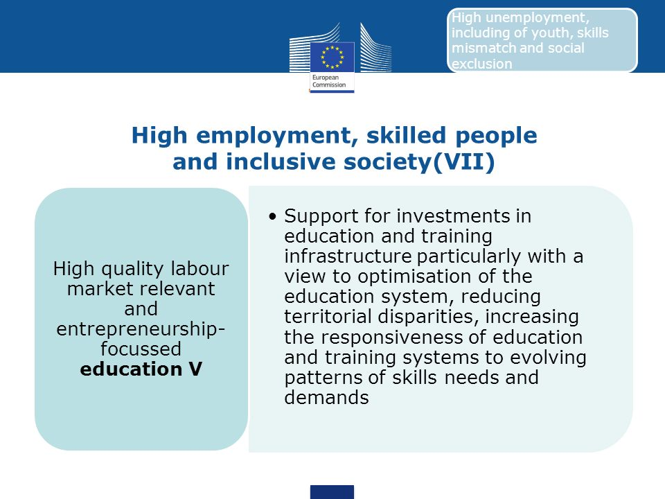 High employment, skilled people and inclusive society(VII) Support for investments in education and training infrastructure particularly with a view t