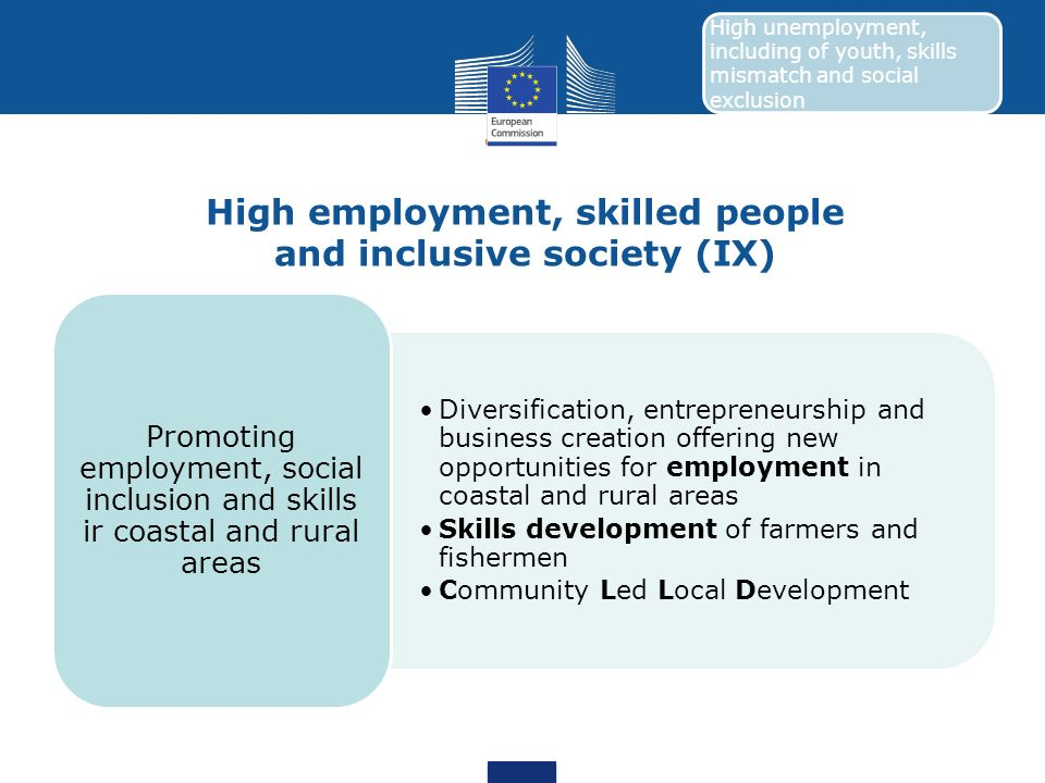 High employment, skilled people and inclusive society (IX) Diversification, entrepreneurship and business creation offering new opportunities for empl