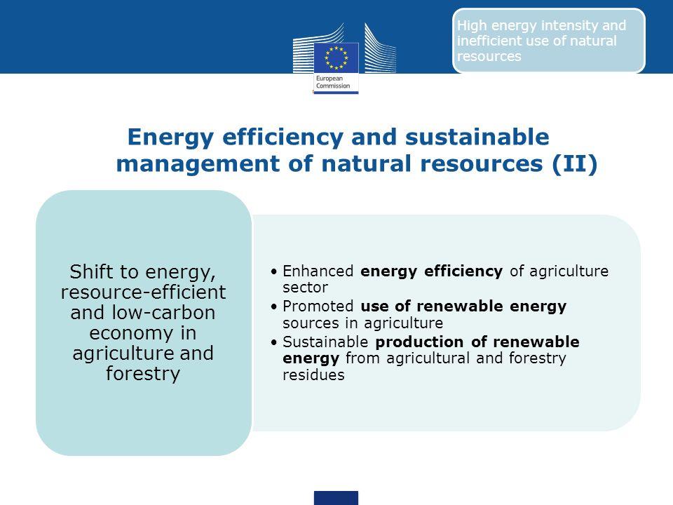 Energy efficiency and sustainable management of natural resources (II) Enhanced energy efficiency of agriculture sector Promoted use of renewable ener