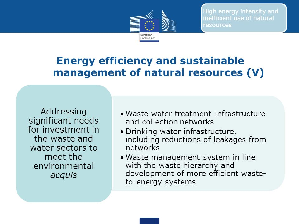 Energy efficiency and sustainable management of natural resources (V) Waste water treatment infrastructure and collection networks Drinking water infr