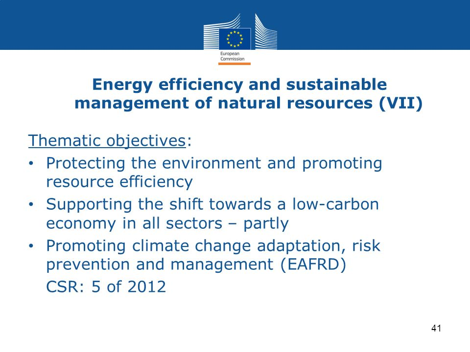Energy efficiency and sustainable management of natural resources (VII) Thematic objectives: Protecting the environment and promoting resource efficie