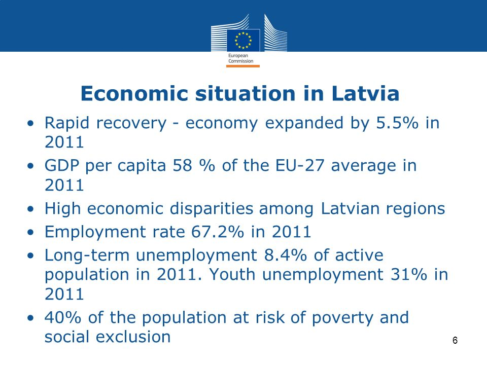 Economic situation in Latvia Rapid recovery - economy expanded by 5.5% in 2011 GDP per capita 58 % of the EU-27 average in 2011 High economic disparit