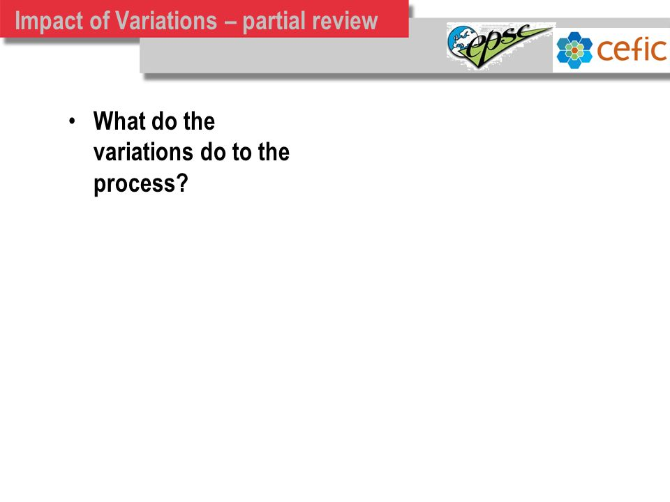 Impact of Variations – partial review What do the variations do to the process?
