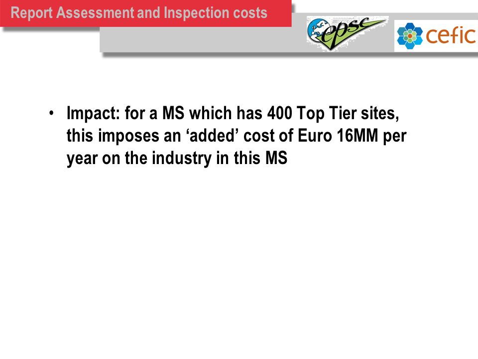 Report Assessment and Inspection costs Impact: for a MS which has 400 Top Tier sites, this imposes an added cost of Euro 16MM per year on the industry in this MS