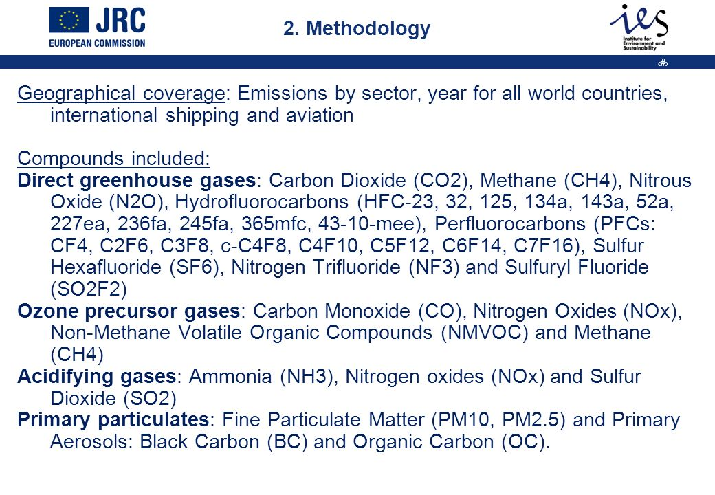 5 Methodology Time series: 1970-2005 (annual), for selected projects (monthly emissions) for commission policy studies 2005-2050 Source categories (main groups): -Energy: Fuel Combustion (IPCC 1A) and Fugitive emissions from fuel (IPCC 1B) - Industrial Processes (non-combustion, IPCC 2) - Product Use (IPCC 3) - Agriculture (including Savanna burning), (IPCC 4) - Land Use Change and Forestry (IPCC 5) - Waste (IPCC 6) - Other anthropogenic sources (fossil fuel fires) (IPCC 7) Spatial allocation:base grid 0.1x0.1 degree grid (also available on 0.5 and 1 degree grid)