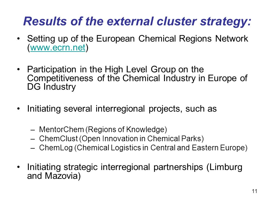 11 Results of the external cluster strategy: Setting up of the European Chemical Regions Network (www.ecrn.net)www.ecrn.net Participation in the High