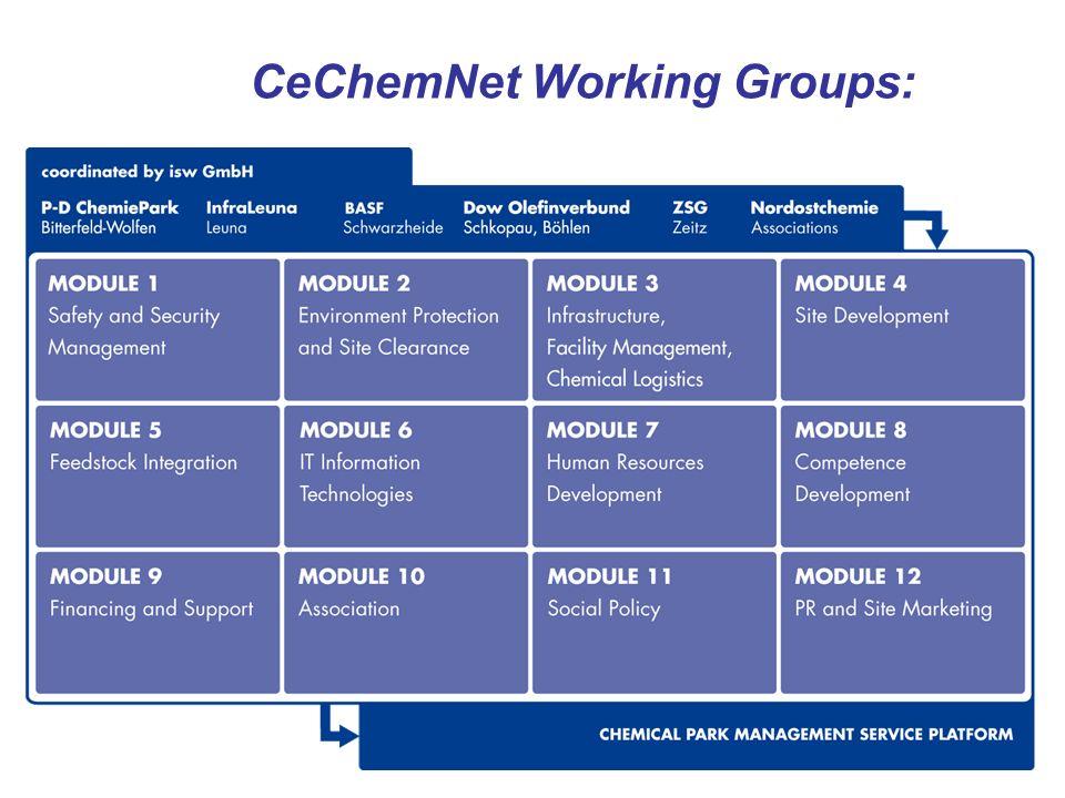 7 CeChemNet Working Groups: