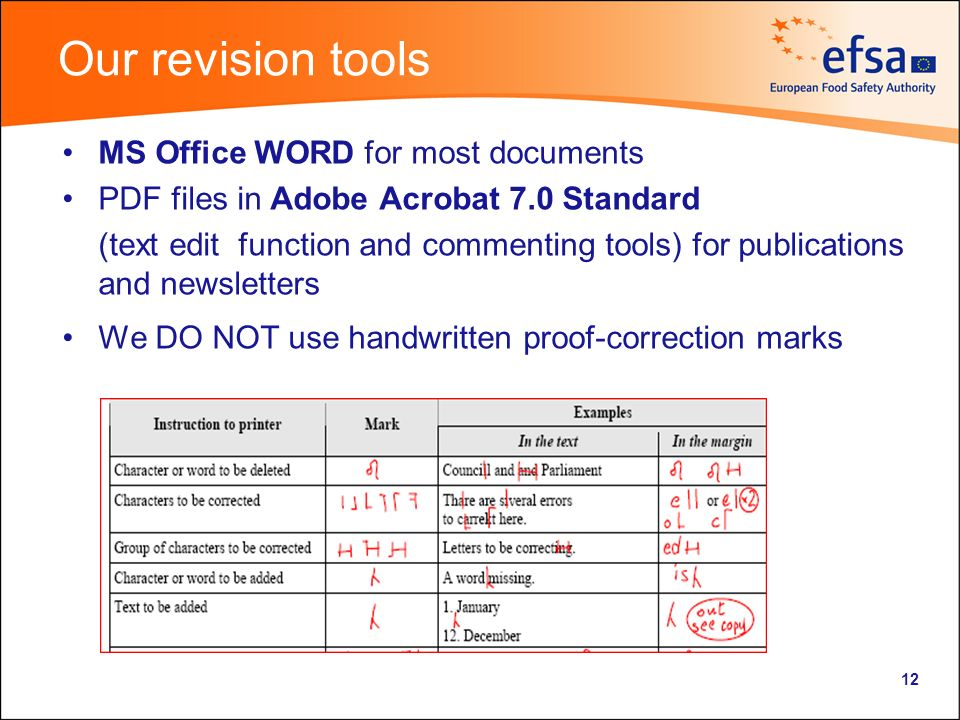 Our revision tools MS Office WORD for most documents PDF files in Adobe Acrobat 7.0 Standard (text edit function and commenting tools) for publications and newsletters We DO NOT use handwritten proof-correction marks 12