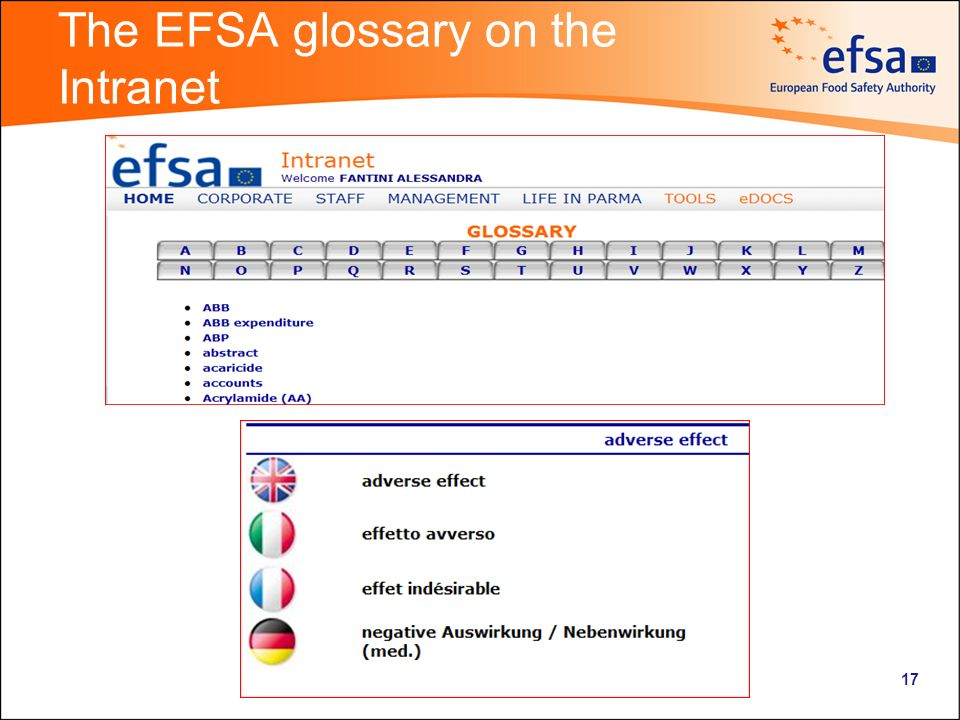 The EFSA glossary on the Intranet 17
