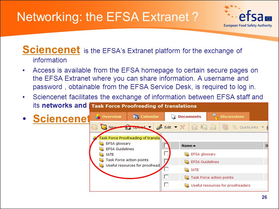 Networking: the EFSA Extranet .