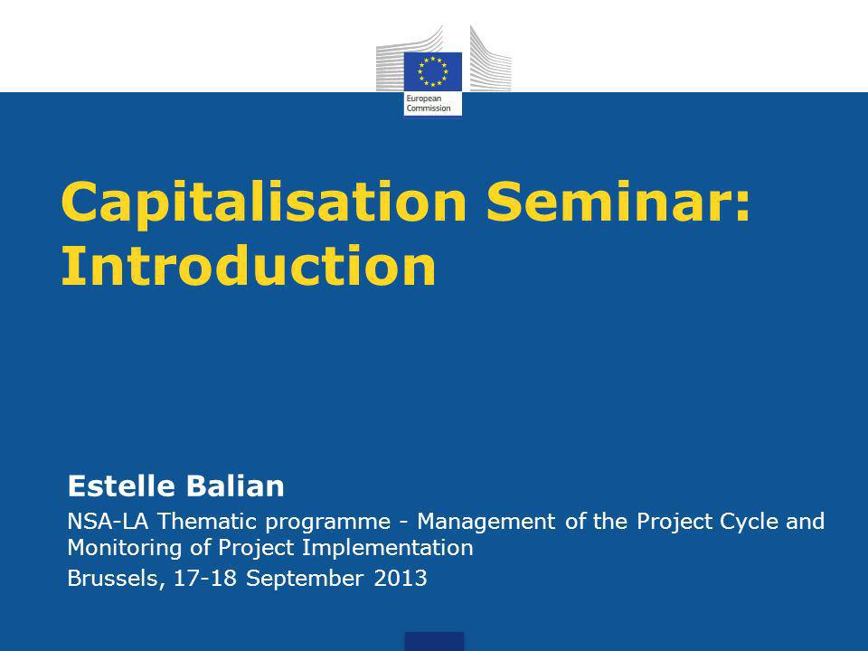 Capitalisation Seminar: Introduction Estelle Balian NSA-LA Thematic programme - Management of the Project Cycle and Monitoring of Project Implementation Brussels, 17-18 September 2013