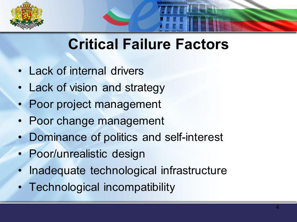 4 Lack of internal drivers Lack of vision and strategy Poor project management Poor change management Dominance of politics and self-interest Poor/unrealistic design Inadequate technological infrastructure Technological incompatibility Critical Failure Factors