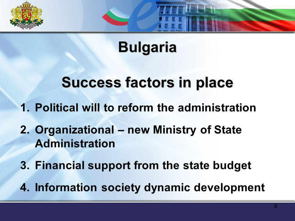 9 Bulgaria Success factors in place 1.Political will to reform the administration 2.Organizational – new Ministry of State Administration 3.Financial support from the state budget 4.Information society dynamic development