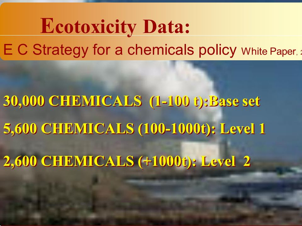 30,000 CHEMICALS (1-100 t):Base set E cotoxicity Data: E C Strategy for a chemicals policy White Paper, 2001 5,600 CHEMICALS (100-1000t): Level 1 2,600 CHEMICALS (+1000t): Level 2