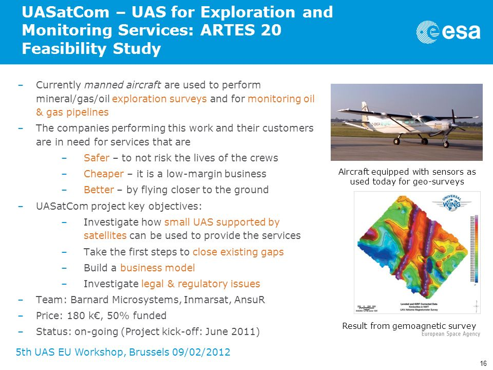 16 5th UAS EU Workshop, Brussels 09/02/2012 UASatCom – UAS for Exploration and Monitoring Services: ARTES 20 Feasibility Study –Currently manned aircr