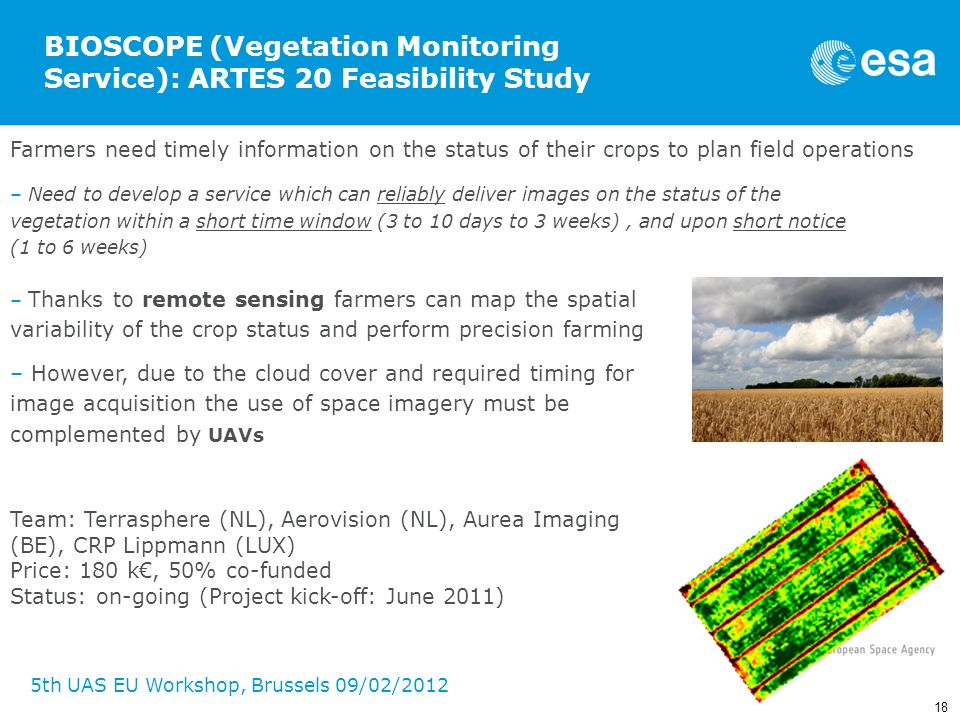 18 5th UAS EU Workshop, Brussels 09/02/2012 BIOSCOPE (Vegetation Monitoring Service): ARTES 20 Feasibility Study Farmers need timely information on th