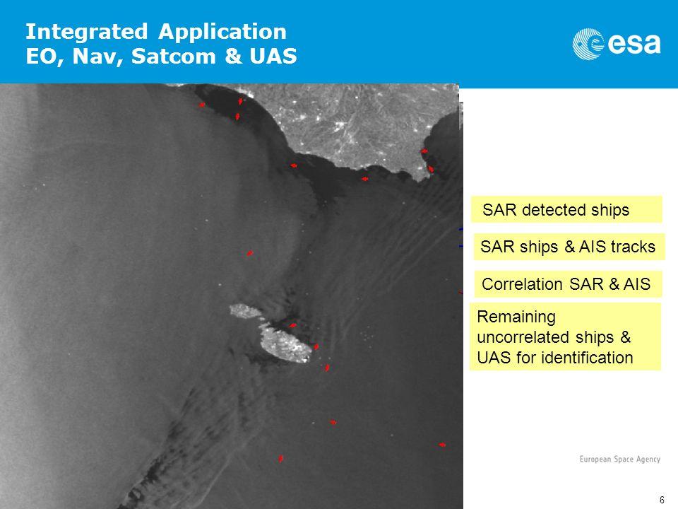 6 5th UAS EU Workshop, Brussels 09/02/2012 SAR detected ships SAR ships & AIS tracks Correlation SAR & AIS Remaining uncorrelated ships & UAS for iden