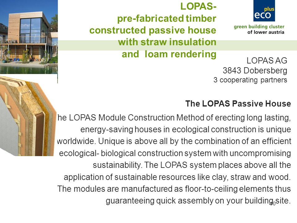 10 LOPAS- pre-fabricated timber constructed passive house with straw insulation and loam rendering LOPAS AG 3843 Dobersberg 3 cooperating partners The LOPAS Passive House The LOPAS Module Construction Method of erecting long lasting, energy-saving houses in ecological construction is unique worldwide.
