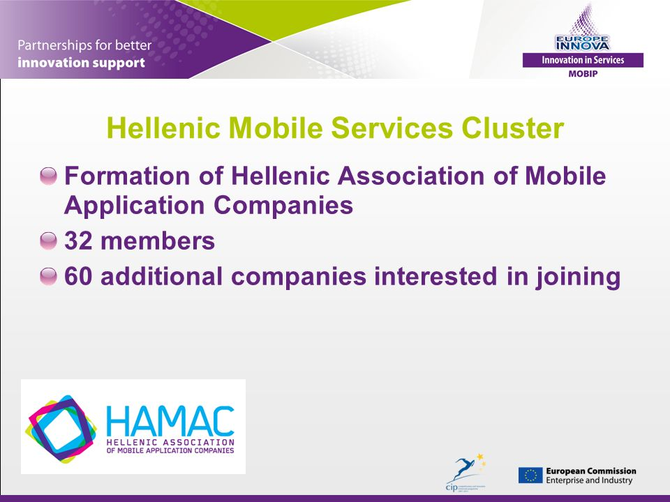 Hellenic Mobile Services Cluster Formation of Hellenic Association of Mobile Application Companies 32 members 60 additional companies interested in joining