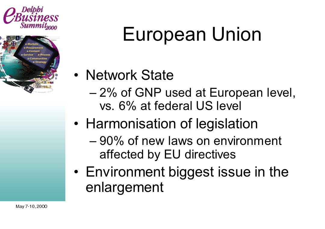 European Union Network State –2% of GNP used at European level, vs. 6% at federal US level Harmonisation of legislation –90% of new laws on environmen