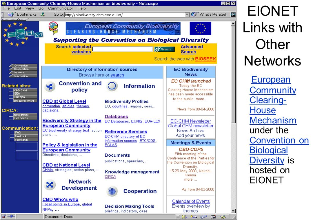 EIONET Links with Other Networks European Community Clearing- House Mechanism under the Convention on Biological Diversity is hosted on EIONET Europea