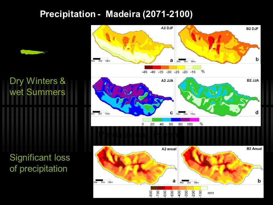 Precipitation - Madeira (2071-2100) Dry Winters & wet Summers Significant loss of precipitation Perda anual (in mm)