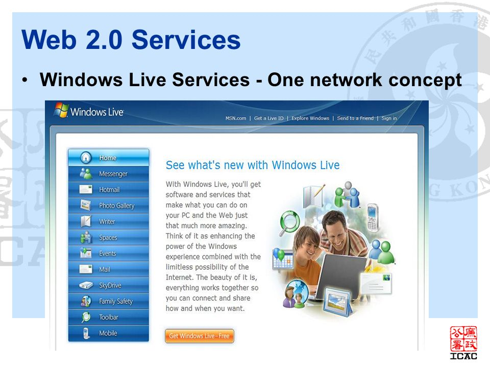 Web 2.0 Services Windows Live Services - One network concept
