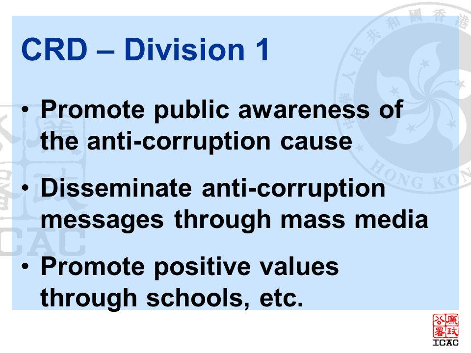CRD – Division 1 Promote public awareness of the anti-corruption cause Disseminate anti-corruption messages through mass media Promote positive values