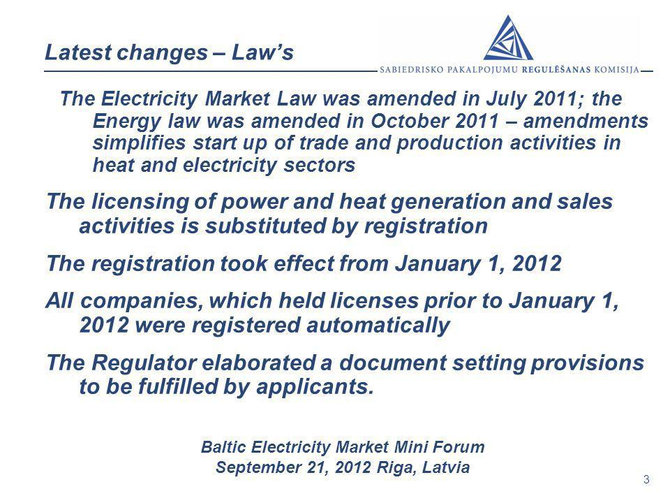 3 Baltic Electricity Market Mini Forum September 21, 2012 Riga, Latvia Latest changes – Laws The Electricity Market Law was amended in July 2011; the