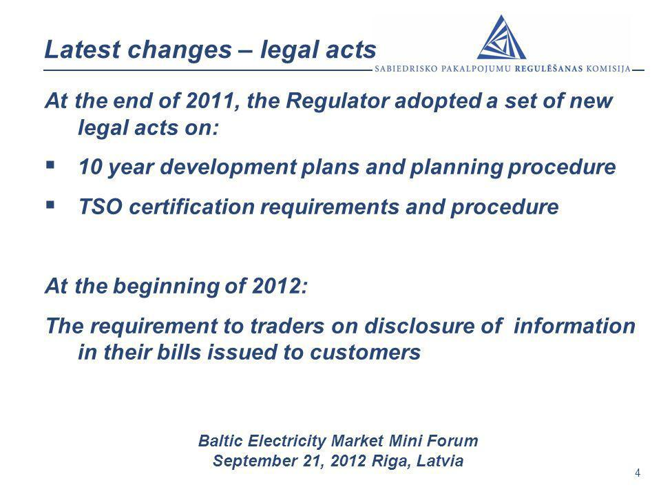 4 Baltic Electricity Market Mini Forum September 21, 2012 Riga, Latvia Latest changes – legal acts At the end of 2011, the Regulator adopted a set of