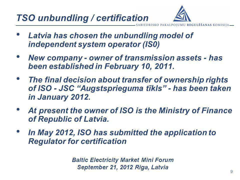 9 Baltic Electricity Market Mini Forum September 21, 2012 Riga, Latvia TSO unbundling / certification Latvia has chosen the unbundling model of indepe