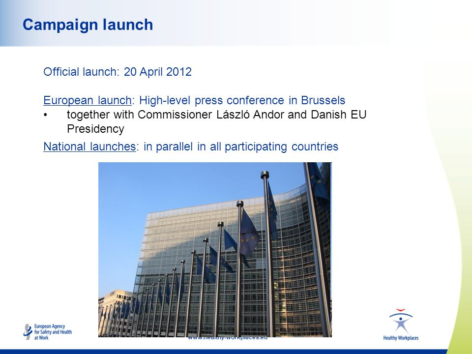 www.healthy-workplaces.eu Campaign launch Official launch: 20 April 2012 European launch: High-level press conference in Brussels together with Commis