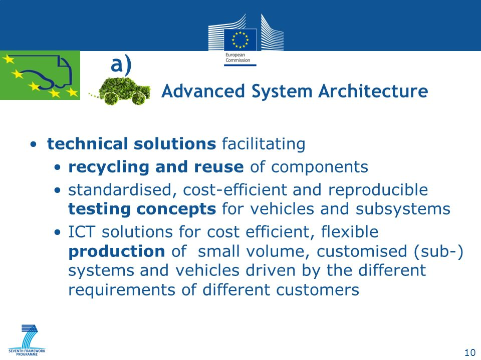 10 a) technical solutions facilitating recycling and reuse of components standardised, cost-efficient and reproducible testing concepts for vehicles and subsystems ICT solutions for cost efficient, flexible production of small volume, customised (sub-) systems and vehicles driven by the different requirements of different customers Advanced System Architecture
