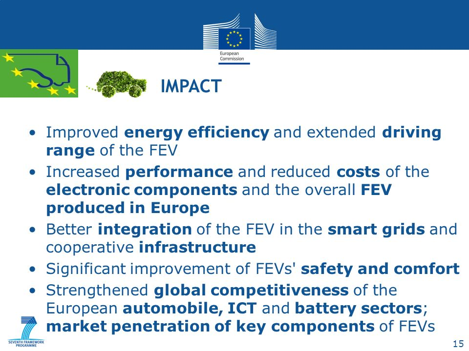 15 Improved energy efficiency and extended driving range of the FEV Increased performance and reduced costs of the electronic components and the overall FEV produced in Europe Better integration of the FEV in the smart grids and cooperative infrastructure Significant improvement of FEVs safety and comfort Strengthened global competitiveness of the European automobile, ICT and battery sectors; market penetration of key components of FEVs IMPACT