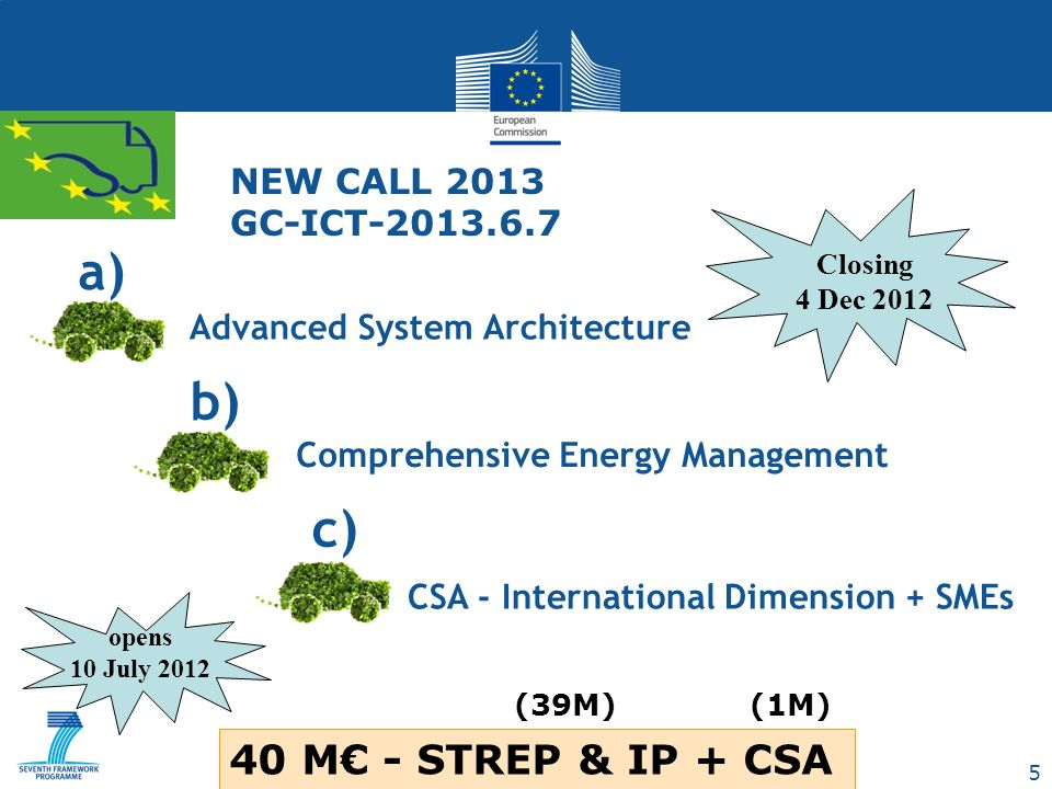 16 IMPACT (2) a), b) IP, STREP: It is expected that at least one IP is selected per target outcome Individual proposals may address both target outcomes a) and b) Projects under b) are expected to establish cooperation and to coordinate with relevant projects under NMP, Environment, Energy and Transport to jointly support the EGCI PPP