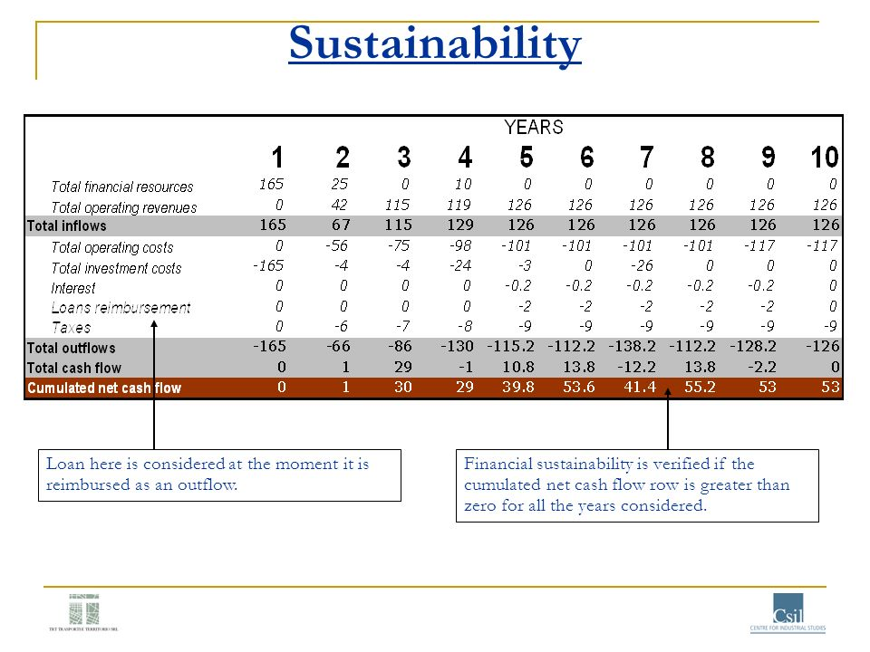 Sustainability Loan here is considered at the moment it is reimbursed as an outflow. Financial sustainability is verified if the cumulated net cash fl