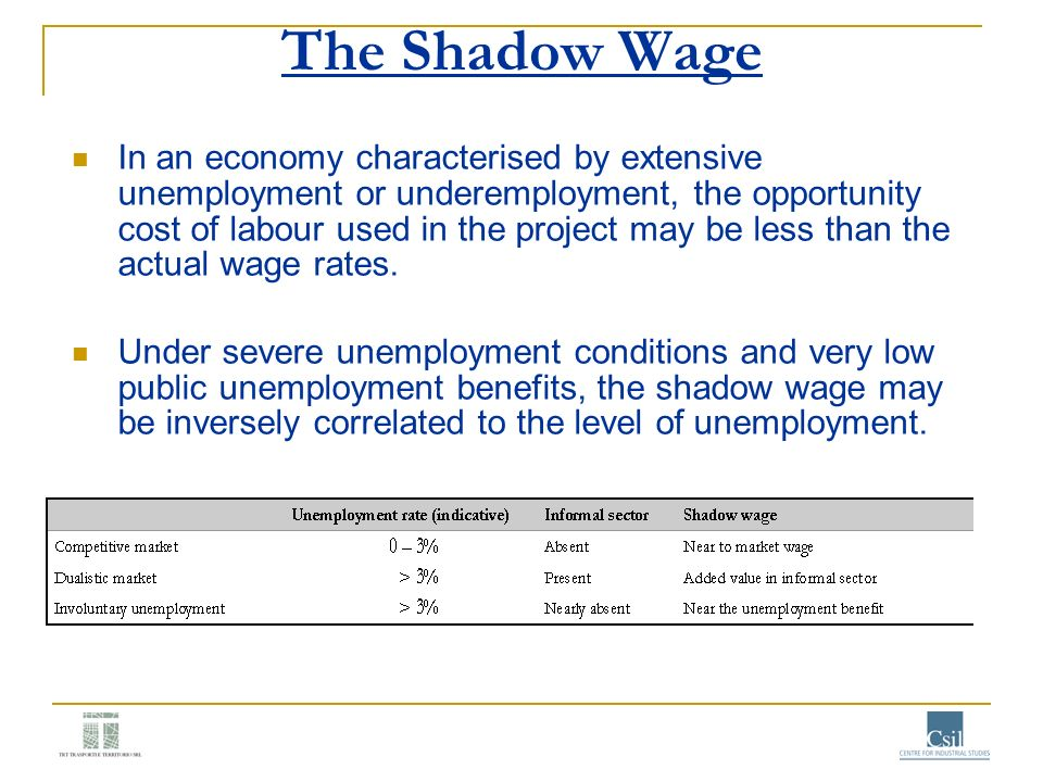 The Shadow Wage In an economy characterised by extensive unemployment or underemployment, the opportunity cost of labour used in the project may be le