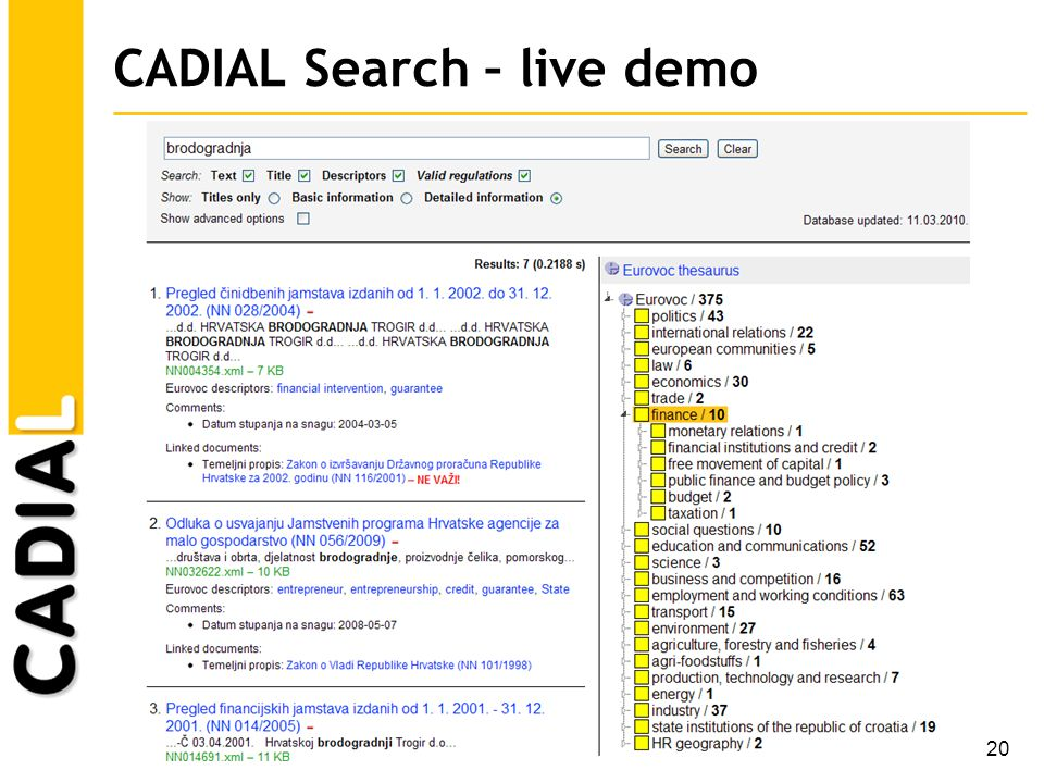 20 CADIAL Search – live demo